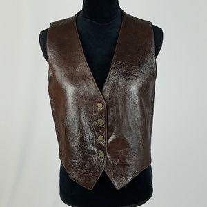Karen Kane Lifestyle women 10 brown leather vest
